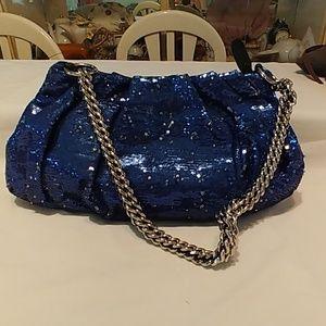 Or YANY blue sequins handbag
